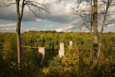 Abandoned bridge pilings, Potomac River from James Rumsey Monument, Shepherdstown, West Virginia.
