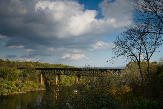 Norfolk Southern Railway trestle across the Potomac River viewed from James Rumsey Monument Park