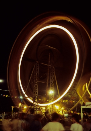 Ferris Wheel of the Chincoteague Pony Penning and Carnival. Original: Kodachrome 64.