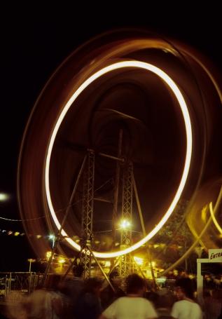 Ferris Wheel of the Chincoteague Pony Penning and Carnival. Original: Kodachrome 64.