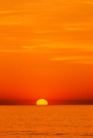 Sunrise, Atlantic Ocean from Assateague Island, May 1991.