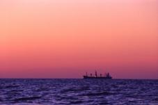 Freighter at Sunrise, Chesapeake Bay, May 2000