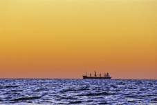 Freighter at Sunrise, Chesapeake Bay, May 2000