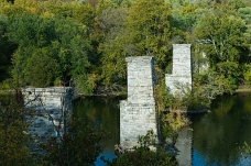 Old bridge piers crossing the Potomac River as viewed from James Rumsey Monument Park, Shepherdstown, West Virginia, October 19, 2010.